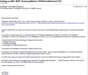 Anfrage DCM Service GmbH Mietfläche