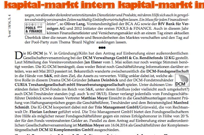 Ausriss KMI 18/14 Mit freundlicher Genehmigung der Markt Intern GmbH, Düsseldorf